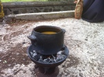 Coal pot with pumpkin soup