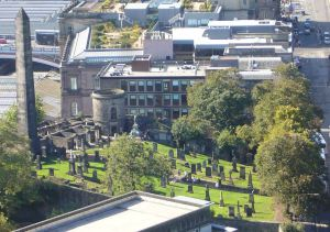 Old Calton Burying Ground in Edinburgh--split in half during the Regency era