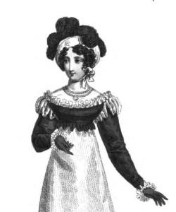 """The canezou is a type of spenser--this one is in black satin and part of a """"fancy mourning dinner dress."""" From the December issue of La Belle Assemblée, 1818."""