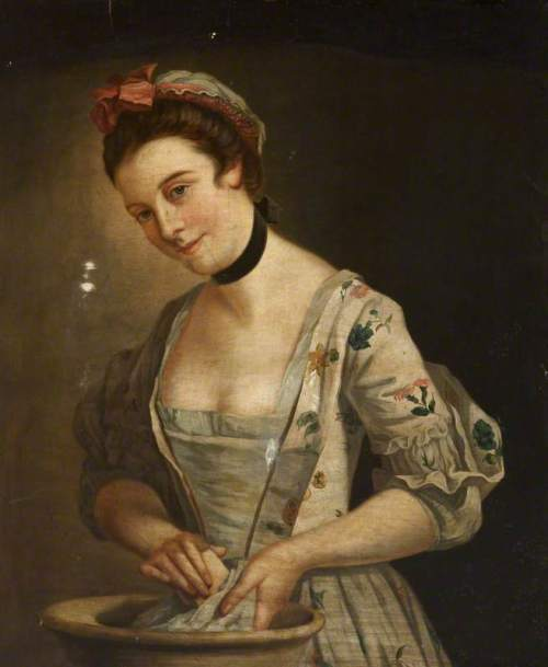 unknown artist; Portrait of a Lady in a Floral Dress Washing Clothes; National Museums Northern Ireland; http://www.artuk.org/artworks/portrait-of-a-lady-in-a-floral-dress-washing-clothes-123098
